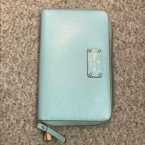 Kate Spade travel wallet light blue